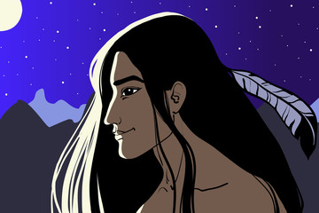 Cartoon style illustration of a native American Indian man standing in the moonlight. Night sky with stars, mountains in the background.