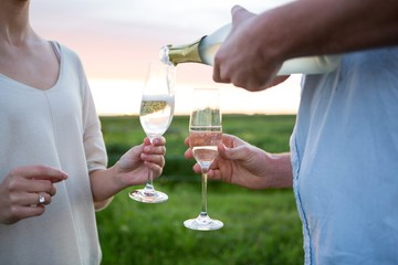 Close-up of couple having champagne in field