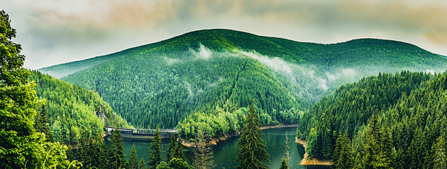 Poster Olive Dam in mountains -