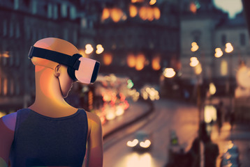 AI, Mannequin dreaming about real world through virtual reality googles