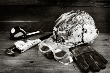 Dirty  helmet and tools