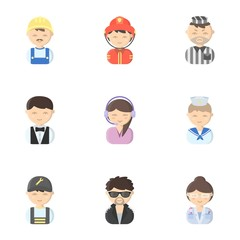 Profession set icons in cartoon style. Big collection of profession vector symbol stock illustration