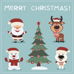 Merry Christmas! Set funny christmas characters: Santa Claus, reindeer, snowman, polar bear and christmas tree.