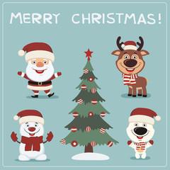 Merry Christmas! Set funny christmas characters: Santa Claus, reindeer, snowman, polar bear and christmas tree.