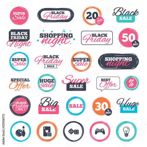 Sale Shopping Stickers And Banners Bowling And Casino Icons Video