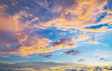 Beautiful colorful cloudy sky background.