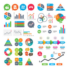 Business charts. Growth graph. Bowling and Casino icons. Video game joystick and playing card with puzzles pieces symbols. Entertainment signs. Market report presentation. Vector