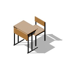 School desk. 3D rendering illustration. Cartoon style. Isometric