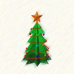 Christmas spruce tree.Drawing style.Digital colorful illustratio