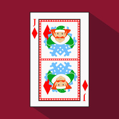 playing card. the icon picture is easy. DIAMONT JACK JOKER NEW YEAR ELF. CHRISTMAS SUBJECT. with white a basis substrate.