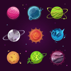 Planet icons for game design. Fantasty game planets set. Set of cartoon fantastic planets on space background. Fantasy alien planets set