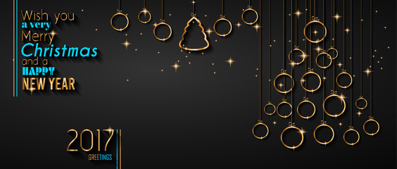 Merry Christmas Tree Flyer with Golden elegant baubles and glowing light stars