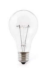 Old fashioned glass light bulb isolated on white background