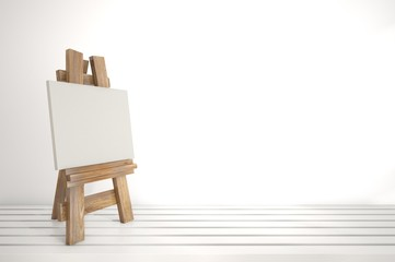 3d blank canvas with small  easel on white table