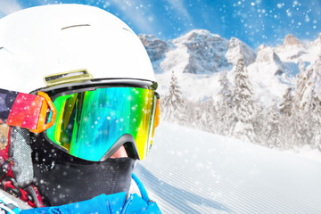 Portrait of skier, close-up.