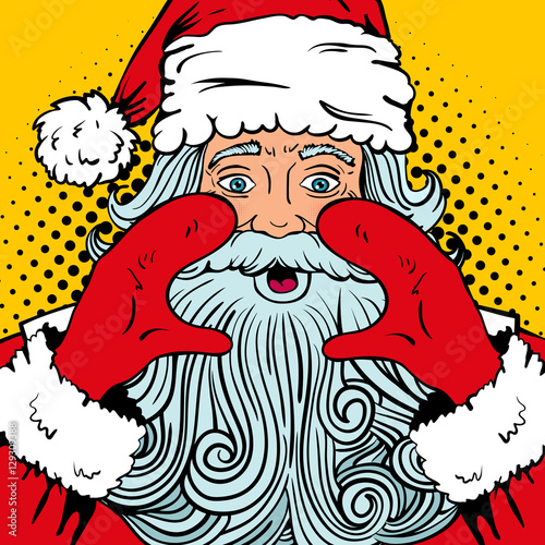wow pop art santa claus with surprised face wide open eyes and