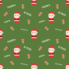 Cute Santa Claus and reindeer pattern seamless background with s