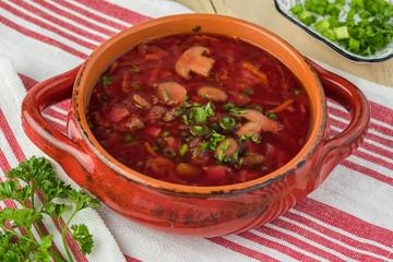 Homemade traditional russian borsch.