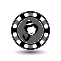poker chip Christmas new year. Icon on a white background to separate easily. Use for websites, design, decoration, printing, etc. Girl Santa Claus in black and    gray counter