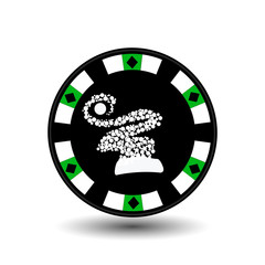 chip poker casino Christmas new year. on white easy to separate the background.  use for sites, design, decoration, printing, etc. In the middle of the hood made  snowflakes  green