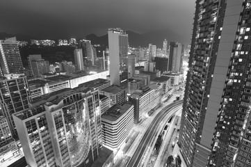 Aerial view of Hong Kong city at night