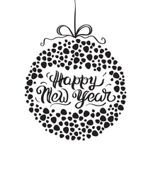 Vector illustration of a sketch New Year's greeting card with snowball