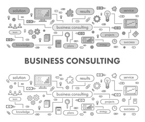 Line design concept banner for business consulting