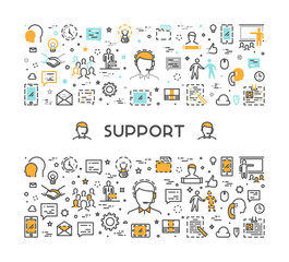Vector line web concept for support