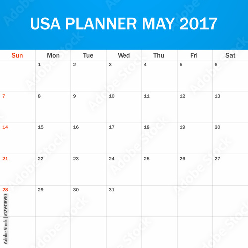 USA Planner Blank For May 2017 Scheduler Agenda Or Diary Template