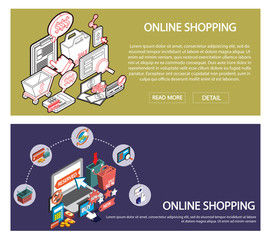 illustration of info graphic online shopping set concept in isometric 3d graphic