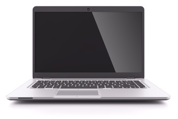 Modern laptop with black screen