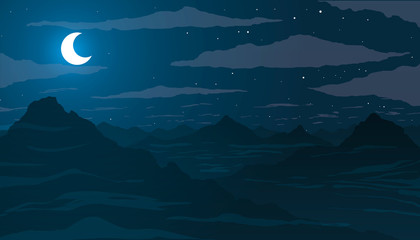 Night in the mountains. Moon among the stars and clouds.
