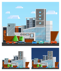 Shopping Mall Building Compositions Set