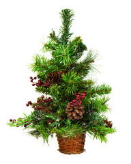 Green Decorated Christmas Tree Isolated on White Background. Closeup.