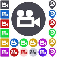Video camera icon, button, symbol set