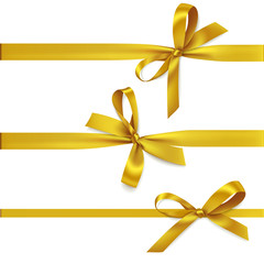 Vector set of decorative golden bows with horizontal ribbon isolated on white. Yellow bow for gift decor