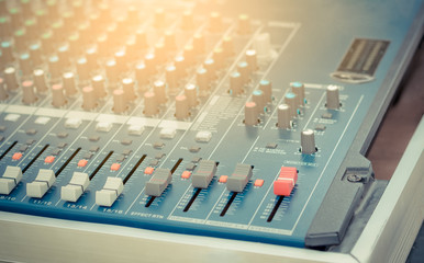 sound mixer control panel. Sound controller Recording Studio. music concept.