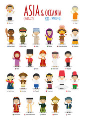 Kids and nationalities of the world vector: Asia and Oceania Set 2 of 2. Set of 24 characters dressed in different national costumes.