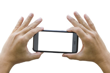 Two hand holding smart phone taking a photograph