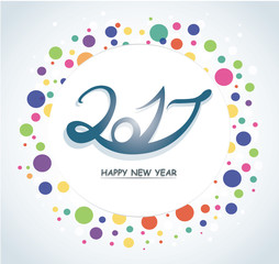 Colorful Happy New Year 2017 text design vector