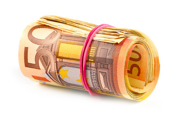 a pack of euro banknotes rolled into a tube and tied with a rubber band