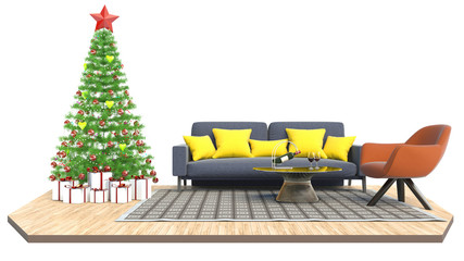 Christmas tree and furniture. 3d illustration