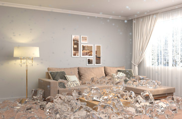 Disabling heating. Interior with ice. 3D iilustration