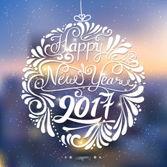 Happy New Year 2017 background with letterting