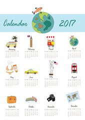 Colorful cute monthly calendar 2017 with bus,airplane,balloon,ca