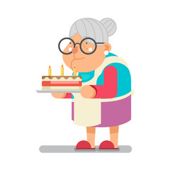 Bake complimentary cake Household Granny Old Lady Character Cartoon Flat Design Vector illustration