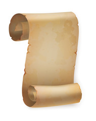 Vertical vintage paper roll or parchment scroll