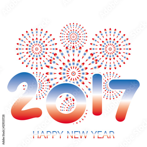 2017 happy new year banner with fireworks red and blue celebration on white background