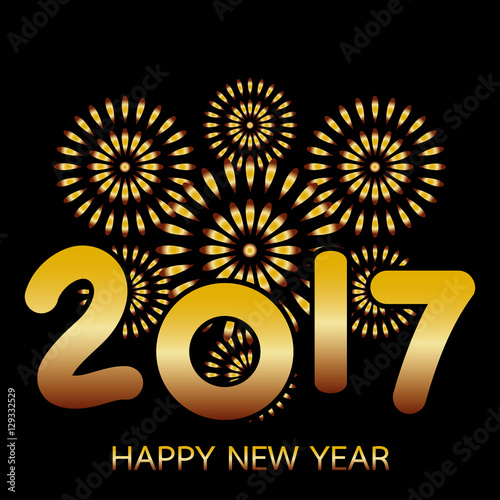 2017 happy new year banner with fireworks gold celebration on black background