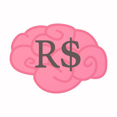 Isolated brain with a brazillian real currency sign